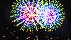 Fuego artificial colorido del d?a de fiesta del primer, cantidad de la Noche Vieja ilustración del vector