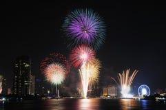 Fuego artificial de Bangkok Fotos de archivo