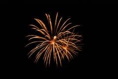 Fuego artificial de estallido de oro Imagen de archivo libre de regalías