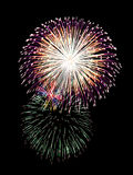 Fuego artificial de la celebración del Año Nuevo, espacio de la copia con el fuego artificial colorido Fotos de archivo