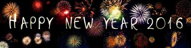 Fuego artificial de las bengalas de la Feliz Año Nuevo 2016 Fotografía de archivo libre de regalías