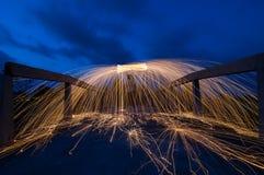 Fuego artificial de las lanas de acero Imagen de archivo libre de regalías