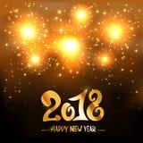 Fuego artificial de oro y Feliz Año Nuevo 2018 Fotografía de archivo