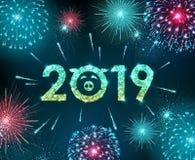 Fuego artificial del azul del festival del día de fiesta del vector Tarjeta de la Feliz Año Nuevo stock de ilustración