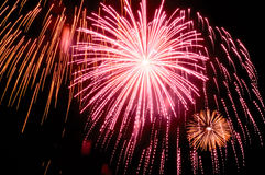 Fuego artificial del día de fiesta contra el cielo nocturno Foto de archivo libre de regalías