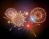 Fuego artificial del día de fiesta del vector Foto de archivo