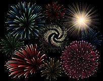 Fuego artificial del día de fiesta Imagenes de archivo