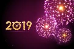 Fuego artificial del rosa del festival del día de fiesta del vector Tarjeta de la Feliz Año Nuevo stock de ilustración
