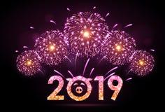 Fuego artificial del rosa del festival del día de fiesta del vector Tarjeta de la Feliz Año Nuevo libre illustration