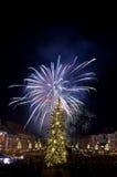 Fuego artificial del ` s Eve del Año Nuevo Fotografía de archivo