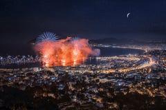 Fuego artificial en Cannes Fotos de archivo libres de regalías