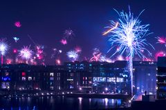 Fuego artificial en Copenhague Fotos de archivo libres de regalías