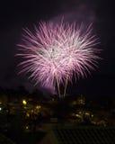 Fuego artificial en el cielo nocturno Imagen de archivo libre de regalías