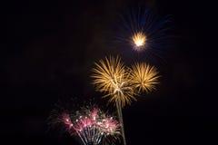 Fuego artificial en el cielo nocturno Fotos de archivo