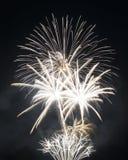 Fuego artificial en el cielo nocturno imagenes de archivo