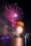 Fuego artificial en festival del Año Nuevo de Bangkok Fotos de archivo libres de regalías