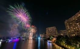 Fuego artificial en festival del Año Nuevo de Bangkok Imágenes de archivo libres de regalías