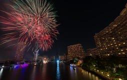 Fuego artificial en festival del Año Nuevo de Bangkok Fotografía de archivo