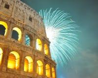Fuego artificial en Roma Foto de archivo libre de regalías