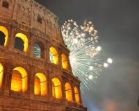 Fuego artificial en Roma Fotos de archivo libres de regalías