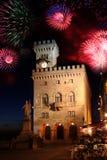 Fuego artificial en San Marino Imágenes de archivo libres de regalías
