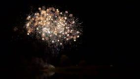 Fuego artificial en un río Noche Vieja de la celebración almacen de metraje de vídeo