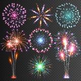Fuego artificial festivo Pictogramas aislados vector El deslumbramiento enciende para arriba el cielo Iconos en un fondo negro Imagen de archivo
