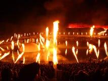 Fuego artificial hermoso en el castillo de Versalles en Francia Imagenes de archivo
