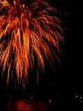 Fuego artificial rojo Foto de archivo libre de regalías