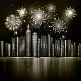Fuego artificial sobre ciudad de la noche con la reflexión en el río Ciudad w del vector Imagen de archivo