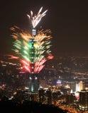 Fuego artificial Taipei101 Imágenes de archivo libres de regalías