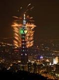 Fuego artificial Taipei101 Fotografía de archivo libre de regalías