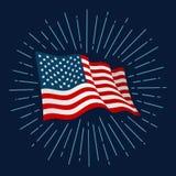 Fuego artificial y bandera americana para el Día de la Independencia de la bandera ilustración del vector