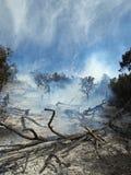 Fuego bajo que fuma Fotografía de archivo libre de regalías