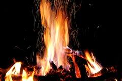 Fuego caliente y llamas del inicio de sesión ardiente Foto de archivo libre de regalías