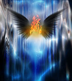 Fuego con alas negro Imagen de archivo libre de regalías