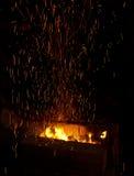 Fuego con las chispas Fotografía de archivo
