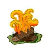 Fuego con leña ilustración del vector