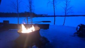 Fuego con nieve Fotografía de archivo