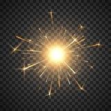 Fuego de Bengala Fuego artificial brillante ardiendo de la bengala Efecto luminoso realista Elemento de la decoraci?n del partido stock de ilustración