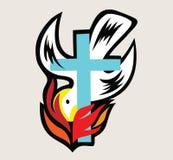 Fuego de Holyspirit con la cruz, diseño del arte Foto de archivo libre de regalías