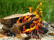 Fuego de la cabaña de madera Imagen de archivo