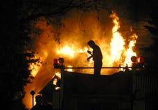 Fuego de la casa Imagen de archivo libre de regalías