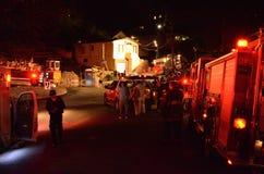 Fuego de la casa en Oakland California Foto de archivo libre de regalías