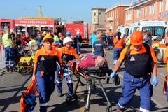 Fuego de la emergencia en puerto de transbordador Fotos de archivo libres de regalías