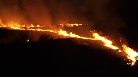 Fuego de la noche en el campo Burning de la hierba seca metrajes