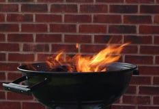 Fuego de la parrilla del Bbq Imágenes de archivo libres de regalías