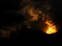 Fuego de la puesta del sol Fotos de archivo