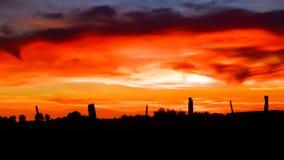 Fuego de la puesta del sol Imagen de archivo