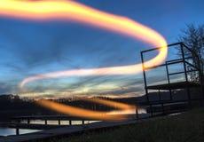 Fuego de la puesta del sol Fotografía de archivo libre de regalías